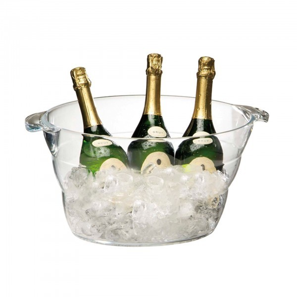 Wein- / Sektkühler - Acryl - glasklar - oval - APS 36057
