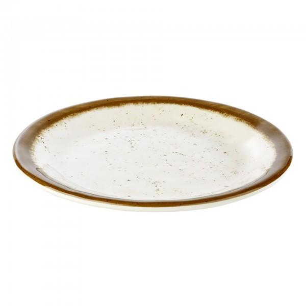 Teller - Melamin - weiß, braun - rund - Serie Stone Art - APS 84510