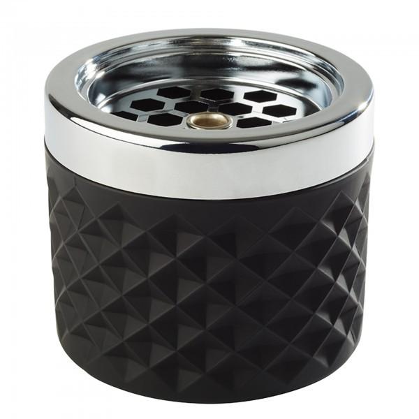 Wind-Aschenbecher - Glas - matt-schwarz - rund - APS 00582
