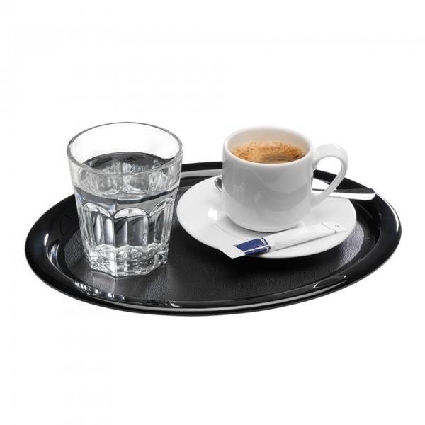 Serviertablett - Melamin - schwarz - oval - Serie Kaffeehaus - APS 84251