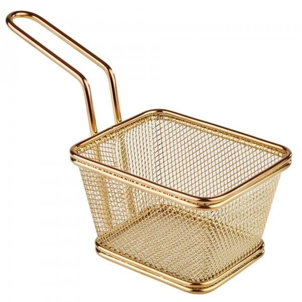 Servier-Frittierkorb - Edelstahl - Gold-Look - rechteckig - Serie Snack Holder - APS 40622