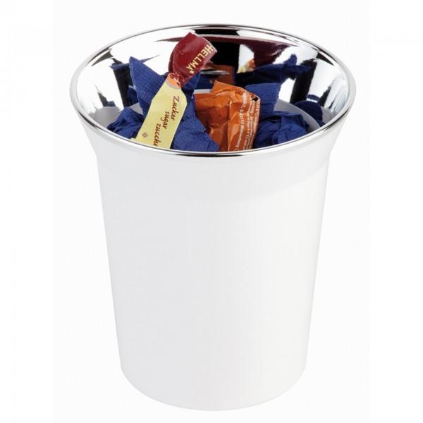 Tischreste- / Besteckbehälter - SAN - weiß - rund - Serie Top Chrome - APS 00025