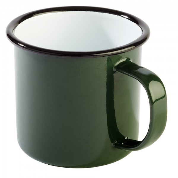 Henkelbecher - Stahl - weiß, grün - Serie Enamelware - APS 40634