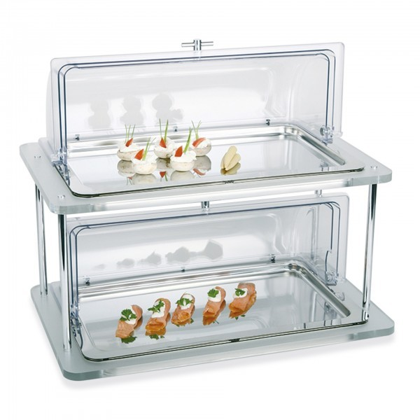 Buffet-Vitrine - Edelstahl / Kunststoff - silber / transparent - rechteckig - Serie Doppeldecker - APS 11514