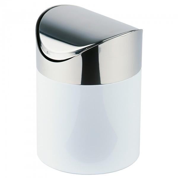 Tischrestebehälter - Metall, lackiert - silber / weiß - rund - APS 00291