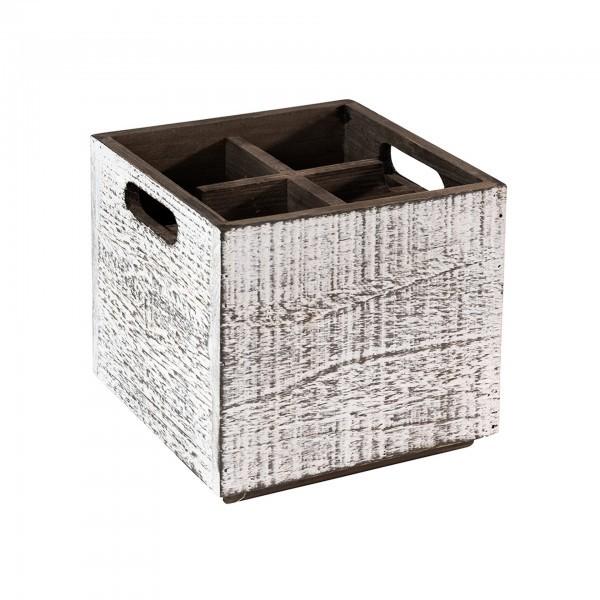 Table Caddy - Holz - weiß - quadratisch - Serie Vintage - APS 11600