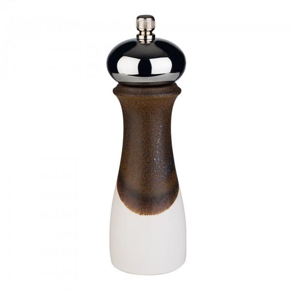 Salzmühle - Porzellan / Edelstahl / Kunststoff - weiß / braun - rund - 40560