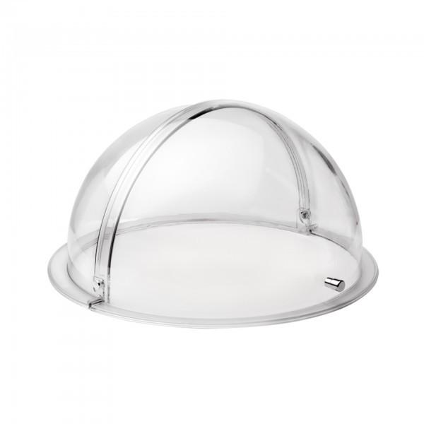 Rolltophaube - transparent - rund - verchromter Griff
