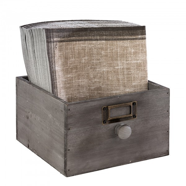 Holzkiste - Holz - grau - rechteckig - Serie Vintage - APS 11633