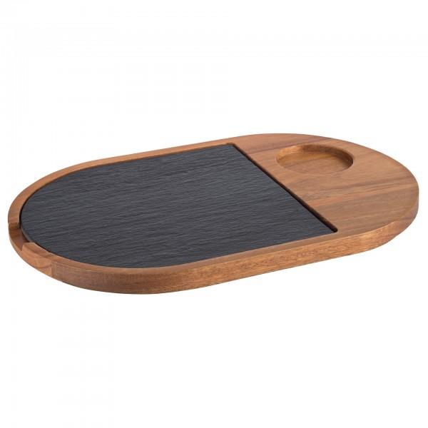 Servierbrett - Holz - oval - 00814