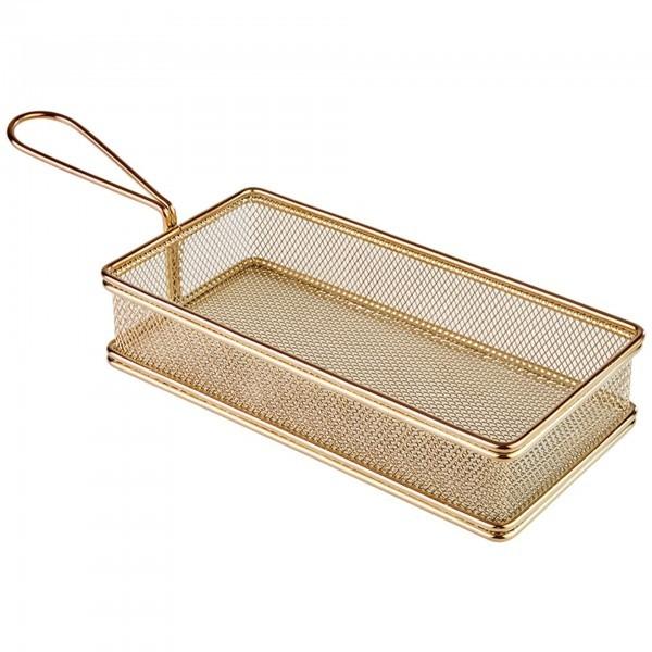 Servier-Frittierkorb - Edelstahl - Gold-Look - rechteckig - Serie Snack Holder - APS 40612