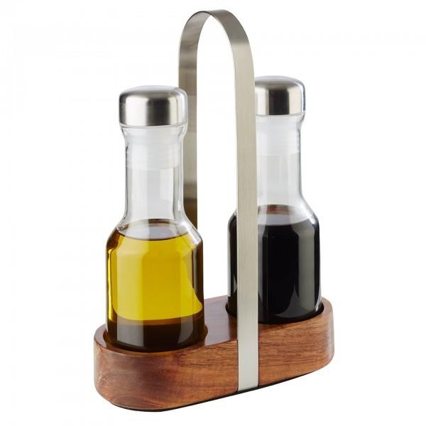 Essig- & Öl-Menage - Akazienholz / Edelstahl - matt poliert - Serie Wood - APS 40436