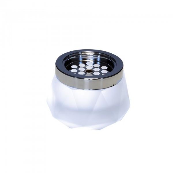 Wind-Aschenbecher - Glas - weiß - rund - Serie Diamond - APS 00565