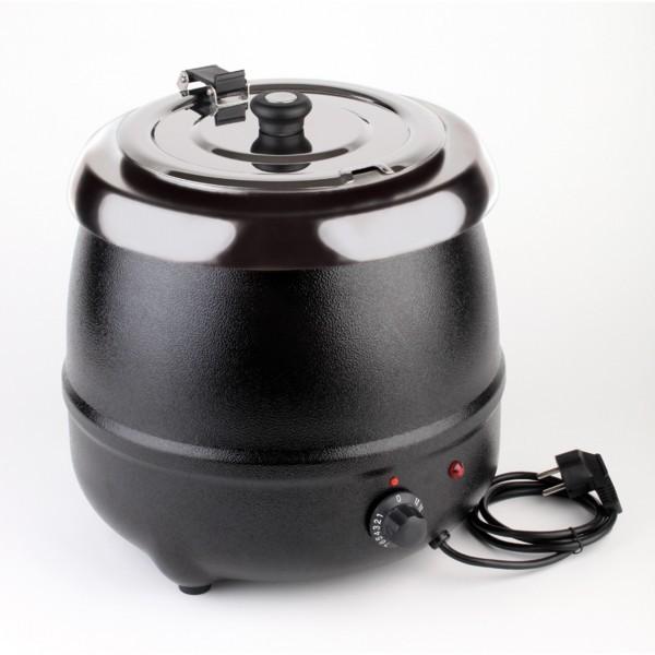Elektrischer Suppentopf - Stahl, lackiert - schwarz - rund - APS 11915