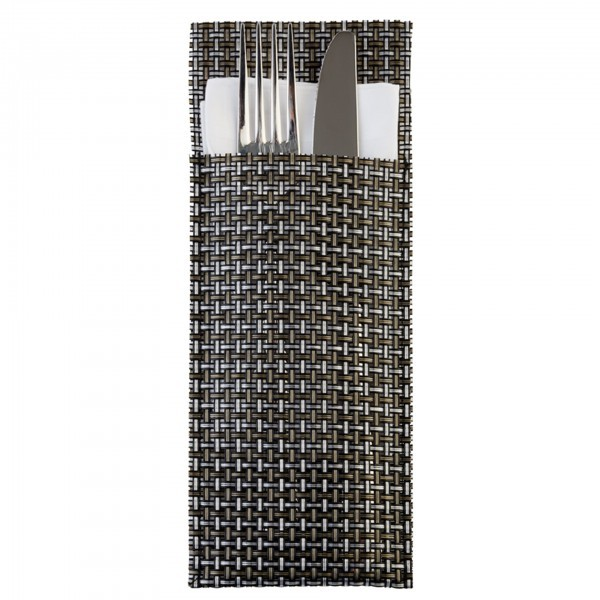 Servietten- und Bestecktaschen - PVC - silbergrau - APS 60551