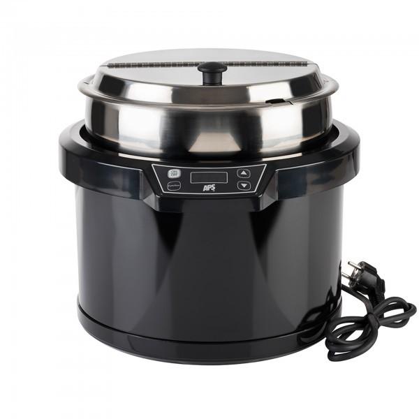 Elektrischer Suppentopf - Edelstahl / Polycarbonat - schwarz - APS 11903