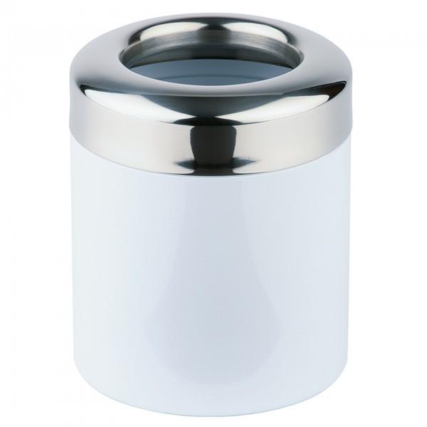 Tischrestebehälter - Metall, lackiert - silber / weiß - rund - APS 00292