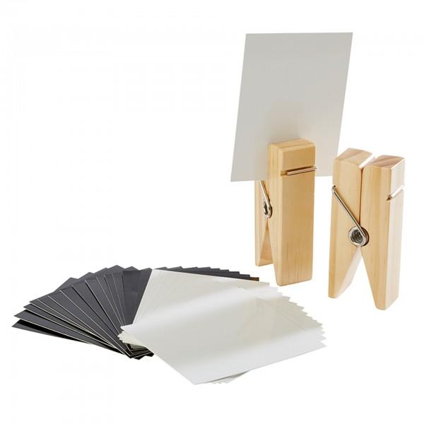 Kartenhalter - Holz - beige - Serie Klammer - 71487