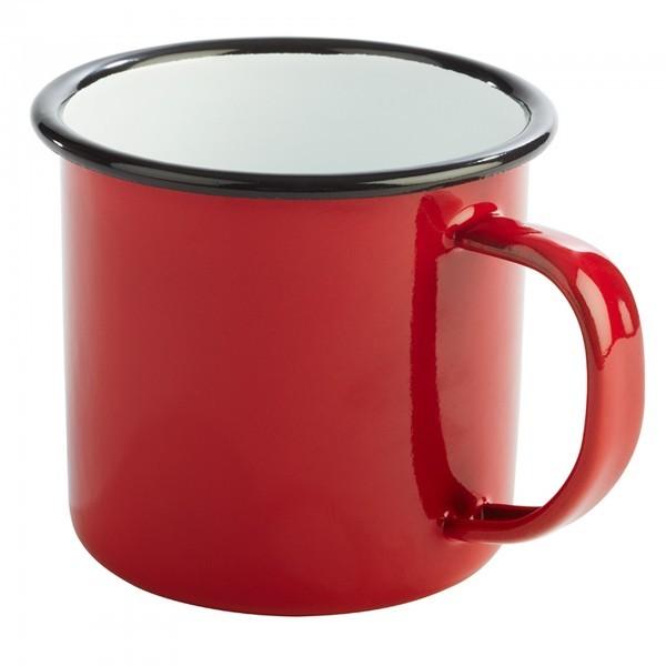 Henkelbecher - Stahl - weiß, rot - Serie Enamelware - APS 40633