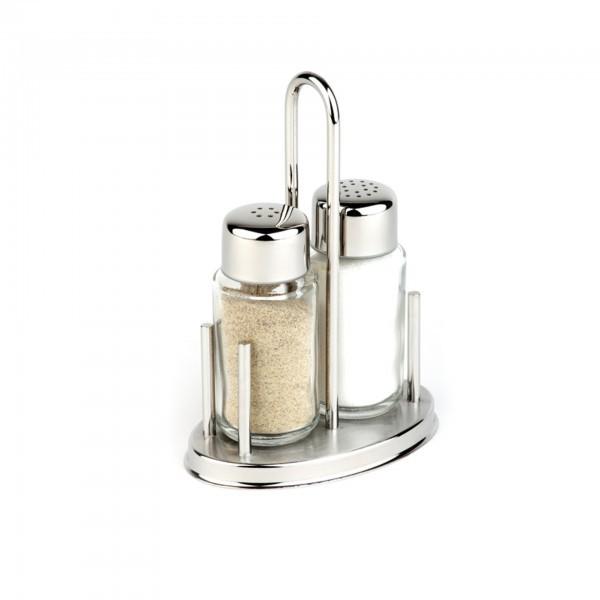 Pfeffer- / Salz-Menage - Edelstahl - oval - Serie Klassik - APS 40310