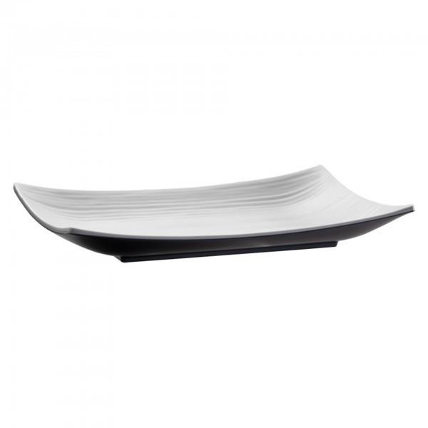 Tablett - Melamin - schwarz, weiss - länglich - Serie Halftone - APS 84126