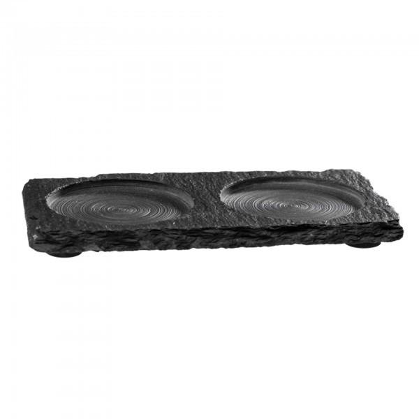 Naturschieferplatte - Naturschiefer - schwarz - rechteckig - APS 00971