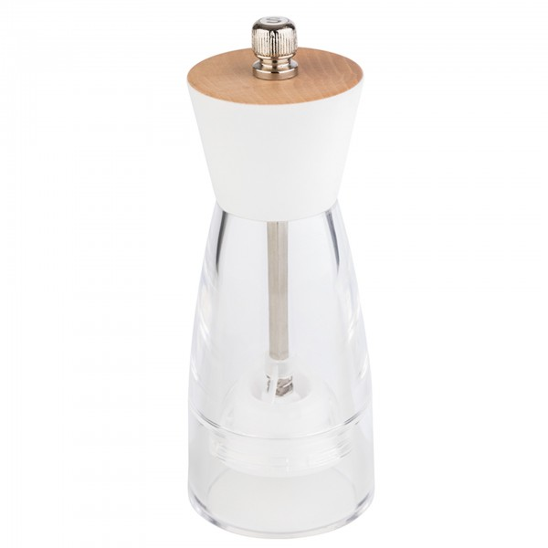 Salzmühle - Kunststoff / Holz - transparent / weiß - rund - Serie Frida - 40550