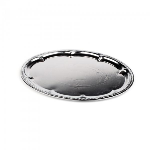 Partyplatte - Metall - verchromt - oval - APS 00391
