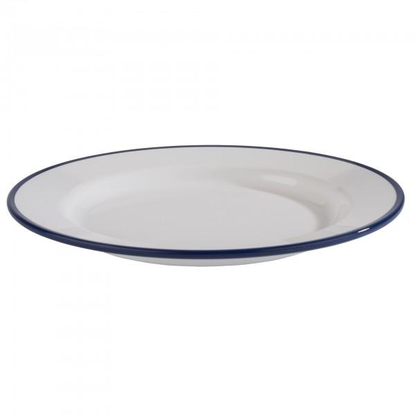 Teller - Melamin - weiß / blau - rund - Serie Enamel Look - 84950